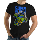 PixelRetro is your best destination for Video Game T-Shirts for Men and Women. Unisex Tee with a great fit. Leo, Leonardo from Ninja Turtles in his best SMB3 Mash up on a Black T-Shirt. Smashed into a Box Art, Super Mario Bros 3 design with the TMNT Parody look. Part of a Cartoon, NES, Nintendo series for a unique look. Online shop only. Soft, durable and high quality cotton. Art By Punksthetic.