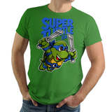 PixelRetro is your best destination for Video Game T-Shirts for Men and Women. Unisex Tee with a great fit. Leo, Leonardo from Ninja Turtles in his best SMB3 Mash up on a Green T-Shirt. Smashed into a Box Art, Super Mario Bros 3 design with the TMNT Parody look. Part of a Cartoon, NES, Nintendo series for a unique look. Online shop only. Soft, durable and high quality cotton. Art By Punksthetic.