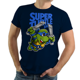 PixelRetro is your best destination for Video Game T-Shirts for Men and Women. Unisex Tee with a great fit. Leo, Leonardo from Ninja Turtles in his best SMB3 Mash up on a Navy Blue T-Shirt. Smashed into a Box Art, Super Mario Bros 3 design with the TMNT Parody look. Part of a Cartoon, NES, Nintendo series for a unique look. Online shop only. Soft, durable and high quality cotton. Art By Punksthetic.