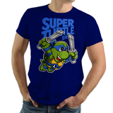PixelRetro is your best destination for Video Game T-Shirts for Men and Women. Unisex Tee with a great fit. Leo, Leonardo from Ninja Turtles in his best SMB3 Mash up on a Royal Blue T-Shirt. Smashed into a Box Art, Super Mario Bros 3 design with the TMNT Parody look. Part of a Cartoon, NES, Nintendo series for a unique look. Online shop only. Soft, durable and high quality cotton. Art By Punksthetic.