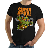 PixelRetro is your best destination for Video Game T-Shirts for Men and Women. Unisex Tee with a great fit. Michelangelo from Ninja Turtles in his best SMB3 Mash up on a Black T-Shirt. Smashed into a Box Art, Super Mario Bros 3 design with the TMNT Parody look. Part of a Cartoon, NES, Nintendo series for a unique look. Online shop only. Soft, durable and high quality cotton. Art By Punksthetic.