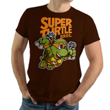 PixelRetro is your best destination for Video Game T-Shirts for Men and Women. Unisex Tee with a great fit. Michelangelo from Ninja Turtles in his best SMB3 Mash up on a Brown T-Shirt. Smashed into a Box Art, Super Mario Bros 3 design with the TMNT Parody look. Part of a Cartoon, NES, Nintendo series for a unique look. Online shop only. Soft, durable and high quality cotton. Art By Punksthetic.