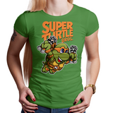 Shop like a gamer. PixelRetro is your best destination for Video Game T-Shirts for Women. Michelangelo, Mikey from Ninja Turtles in his best SMB3 Mash up on a Green Fit, Women's T-Shirt. Smashed into a Box Art, Super Mario Bros 3 design with the TMNT Parody look. Part of a Cartoon, NES, Nintendo series for a unique look. Online shop only. Soft, durable and high quality cotton. Art By Punksthetic.