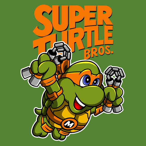 PixelRetro is your best destination for Video Game T-Shirts for Men and Women. Unisex Tee with a great fit. Michelangelo from Ninja Turtles in his best SMB3 Mash up on a Green T-Shirt. Smashed into a Box Art, Super Mario Bros 3 design with the TMNT Parody look. Part of a Cartoon, NES, Nintendo series for a unique look. Online shop only. Soft, durable and high quality cotton. Art By Punksthetic.
