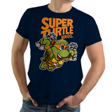 PixelRetro is your best destination for Video Game T-Shirts for Men and Women. Unisex Tee with a great fit. Michelangelo from Ninja Turtles in his best SMB3 Mash up on a Navy Blue T-Shirt. Smashed into a Box Art, Super Mario Bros 3 design with the TMNT Parody look. Part of a Cartoon, NES, Nintendo series for a unique look. Online shop only. Soft, durable and high quality cotton. Art By Punksthetic.