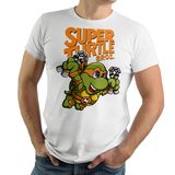 PixelRetro is your best destination for Video Game T-Shirts for Men and Women. Unisex Tee with a great fit. Michelangelo from Ninja Turtles in his best SMB3 Mash up on a White T-Shirt. Smashed into a Box Art, Super Mario Bros 3 design with the TMNT Parody look. Part of a Cartoon, NES, Nintendo series for a unique look. Online shop only. Soft, durable and high quality cotton. Art By Punksthetic.