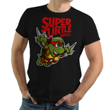 PixelRetro is your best destination for Video Game T-Shirts for Men and Women. Unisex Tee with a great fit. Raphael from Ninja Turtles in his best SMB3 Mash up on a Black T-Shirt. Smashed into a Box Art, Super Mario Bros 3 design with the TMNT Parody look. Part of a Cartoon, NES, Nintendo series for a unique look. Online shop only. Soft, durable and high quality cotton. Art By Punksthetic.