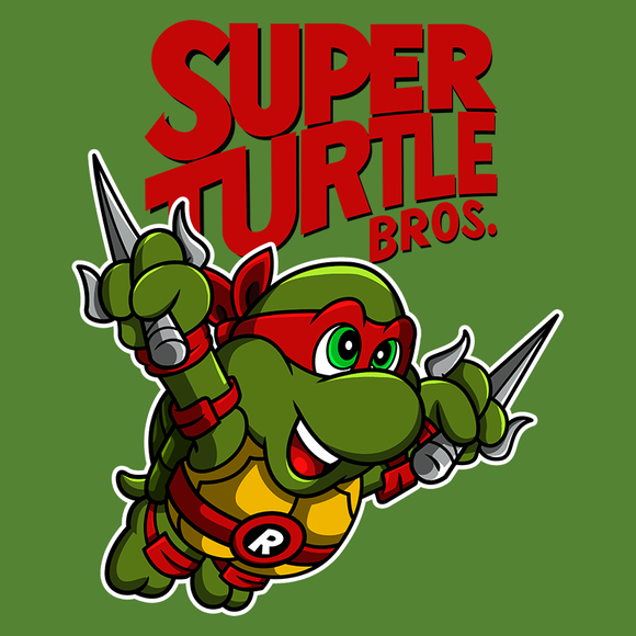 PixelRetro is your best destination for Video Game T-Shirts for Men and Women. Unisex Tee with a great fit. Raphael from Ninja Turtles in his best SMB3 Mash up on a Green T-Shirt. Smashed into a Box Art, Super Mario Bros 3 design with the TMNT Parody look. Part of a Cartoon, NES, Nintendo series for a unique look. Online shop only. Soft, durable and high quality cotton. Art By Punksthetic.