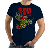 PixelRetro is your best destination for Video Game T-Shirts for Men and Women. Unisex Tee with a great fit. Raphael from Ninja Turtles in his best SMB3 Mash up on a Navy T-Shirt. Smashed into a Box Art, Super Mario Bros 3 design with the TMNT Parody look. Part of a Cartoon, NES, Nintendo series for a unique look. Online shop only. Soft, durable and high quality cotton. Art By Punksthetic.