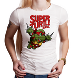 Shop like a gamer. PixelRetro is your best destination for Video Game T-Shirts for Women. Raphael from Ninja Turtles in his best SMB3 Mash up on a White Fit, Women's T-Shirt. Smashed into a Box Art, Super Mario Bros 3 design with the TMNT Parody look. Part of a Cartoon, NES, Nintendo series for a unique look. Online shop only. Soft, durable and high quality cotton. Art By Punksthetic.