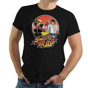 Shop like a gamer. PixelRetro is your best destination for Video Game T-Shirts for Men and Women. Unisex Tee with a great fit. Street Fighter II Mashup from The Karate Kid movie on a Black or White T-Shirt. No Mercy, Sweep The Leg with Daniel and Johnny on an unique design with a Fighter , Ryu and Ken look.. Online shop only. Soft, durable and high quality cotton. Art by Nemons.