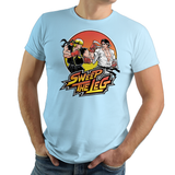 Shop like a gamer. PixelRetro is your best destination for Video Game T-Shirts for Men and Women. Unisex Tee with a great fit. Street Fighter II Mashup from The Karate Kid movie on a Crystal Blue T-Shirt. No Mercy, Sweep The Leg with Daniel and Johnny on an unique design with a Fighter , Ryu and Ken look.. Online shop only. Soft, durable and high quality cotton. Art by Nemons.