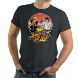 Shop like a gamer. PixelRetro is your best destination for Video Game T-Shirts for Men and Women. Unisex Tee with a great fit. Street Fighter II Mashup from The Karate Kid movie on a Grey, Gray, Charcoal T-Shirt. No Mercy, Sweep The Leg with Daniel and Johnny on an unique design with a Fighter , Ryu and Ken look.. Online shop only. Soft, durable and high quality cotton. Art by Nemons.