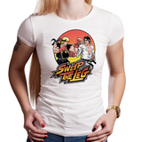 Shop like a gamer. PixelRetro is your best destination for Video Game T-Shirts for Women. Street Fighter II Mashup from The Karate Kid movie on a Black or White Fit Womens Fitted T-Shirt. No Mercy, Sweep The Leg with Daniel and Johnny on an unique design with a Fighter , Ryu and Ken look.. Online shop only. Soft, durable and high quality cotton. Art By Nemons.