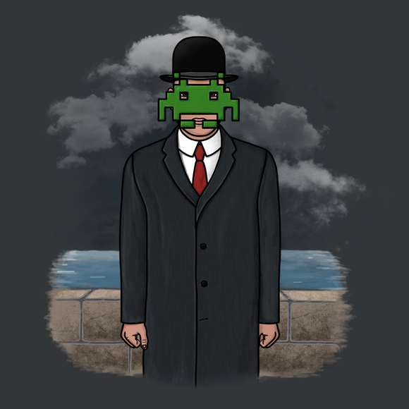 The Son of Invader - Video Game Pixel T-Shirts & Retro Gaming Tees! Space Invaders, 1978, 70s, 1970s, Pixel, Alien, Laser Canon, Arcade, Atari, Shooter, Japan, Japanese, UFO, Space, Sci-Fi, Science Fiction, The Son of Man, Classic Painting, René Magritte, Men, Women, Kids, Clothes, Tees