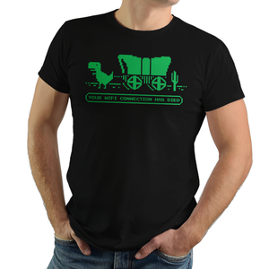 The Wifi Trail - Retro and Pixel Video Game T-shirts - Retro, Pixel, Arcade, Atari, Shooter, Japan, Japanese, Space, Sci-Fi, Science Fiction, No Wifi, No Internet, Dino, Dinosaur, Google Dinosaur, Oregon Trail, Wagon, History, PC, Typhoonic, men, women, kids, shirt, tank, long sleeve