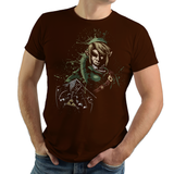 Shop like a gamer. PixelRetro is your best destination for Video Game T-Shirts for Men and Women. Unisex Tee with a great fit. Link from The Legend of Zelda on a Brown T-Shirt. Splash Ink look with a unique design. Online shop only. Soft, durable and high quality cotton.