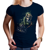 Shop like a gamer. PixelRetro is your best destination for Video Game T-Shirts for Women. Link from The Legend of Zelda on a Black or Navy Blue Fit, Fitted T-Shirt. Splash Ink design with a unique use of color on shirt design. Online shop only. Soft, durable and high quality cotton