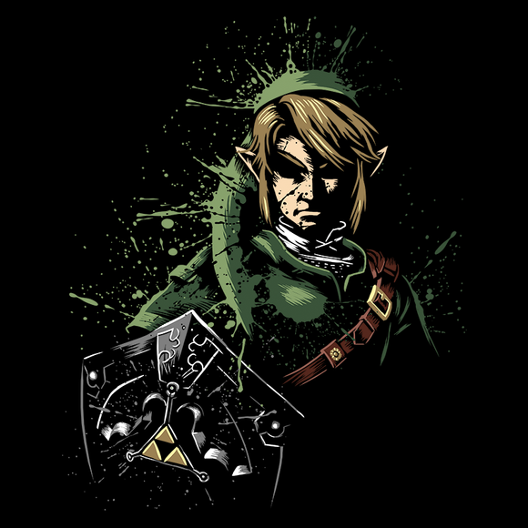 Shop like a gamer. PixelRetro is your best destination for Video Game T-Shirts for Men and Women. Unisex Tee with a great fit. Link from The Legend of Zelda on a Black or Navy T-Shirt. Splash Ink look with a unique design. Online shop only. Soft, durable and high quality cotton.