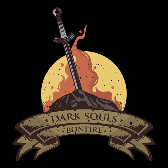 Bonfire - Retro and Pixel Video Game T-shirts - Retro, Dark Souls, Dark Souls 2, Praise The Sun, Bloodborne, Demon Souls, RPG, Action, Bonfire, PS4, PC, Xbox, Solaire, Geek, Nerd, Knight, Japan, Japanese, Save Game, Bonfire, Alundrart, Women, Men, T-Shirt, Tee, Slim Fit, Tank Top, Long Sleeve