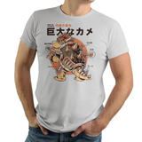 PixelRetro is your best destination for Video Game T-Shirts for Men and Women. Unisex Tee with a great fit. Bowser from Super Mario Bros mashed up into a Godzilla style on a Silver, Light Grey T-Shirt. Movie, Film, Inside look, Retro, cool Nintendo design of the Mario Boss, Kaiju, Gojira, Japan, Japanese design. Created with a unique look. Online shop only. Soft, durable and high quality cotton. Art By Ilustrata.
