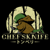 Chefs Knife - Video Game Pixel T-Shirts & Retro Gaming Tees! Cloud, JRPG, RPG, Japan, Japanese, FF7, FF VII, PS1, Sword, 90s, 1990s, Nerd, Geek, Remake, Final Fantasy 7, 1997, Sephiroth, Vincent Valentine, Tifa,  Aerith, Yuffie, Tonberry, Alundrart, Men, Women, Tank Top, Tight Fit, Long Sleeve, Tee