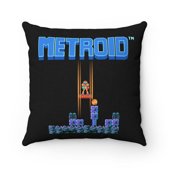 Can this bounty hunter survive? High Quality Art Work 100% Polyester cover Double sided print Concealed zipper pillow included. Gamer, Nes, Nintendo, 80s, Pixel, 8-Bit, 1980s, Metroid, Samus Aran