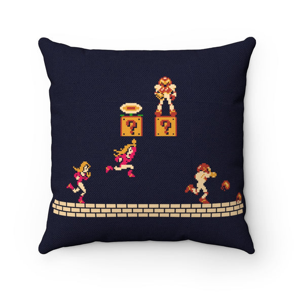 Metroid Mario Mash Up. High Quality Art Work 100% Polyester cover Double sided print Concealed zipper Polyester pillow included. Gamer, Nes, Nintendo, 80s, Pixel, 8-Bit, 1980s, Metroid, Samus Aran, Suit, Space Pirates, Ridley, Mother Brain, 1986, Hunter, Metroid, Super Mario Bros, SMB, Fire, Power Up, Mushroom, Naked