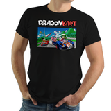 Shop like a gamer. PixelRetro is your best destination for Video Game T-Shirts for Men and Women. Unisex Tee with a great fit. Dragon Kart from Mario Kart and DBZ on a Black T-Shirt. Mashup design featuring a unique design with Goku in Karts. Online shop only. Soft, durable and high quality cotton.