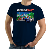 Shop like a gamer. PixelRetro is your best destination for Video Game T-Shirts for Men and Women. Unisex Tee with a great fit. Dragon Kart from Mario Kart and DBZ on a Navy Blue T-Shirt. Mashup featuring a unique design with Goku in Karts. Online shop only. Soft, durable and high quality cotton.