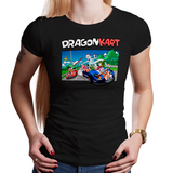 Shop like a gamer. PixelRetro is your best destination for Video Game T-Shirts for Women. Dragon Kart Mario from Mario Kart on a Black or Navy Blue Fit, Fitted T-Shirt. Mashup featuring a unique design with Goku in Karts. Online shop only. Soft, durable and high quality cotton.