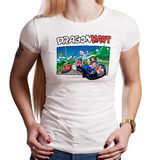 Shop like a gamer. PixelRetro is your best destination for Video Game T-Shirts for Women. Dragon Kart Mario from Mario Kart on a White Fit, Fitted T-Shirt. Mashup featuring a unique design with Goku in Karts. Online shop only. Soft, durable and high quality cotton.