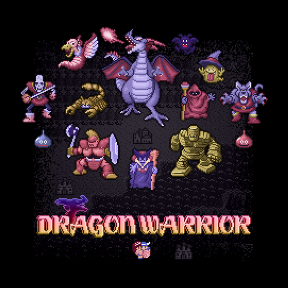 Dragon Warrior - Retro and Pixel Video Game T-shirts - NES, Nintendo, Nintendo Shirts, Pixel, 8-Bit, 80s, 1980s, 1989, Dragon Warrior, Dragon Quest, RPG, Japanese, Japan, JRPG, Erdrick, Dungeon, Quest, King Lorik, Dragonlord, Magic, LikeLikes, Videogame, Games, Gamer, Best, Women, Men, T-Shirt, Tee, Slim Fit, Tank Top, Long Sleeve