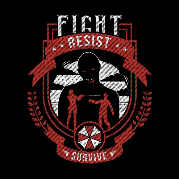 Fight Resist Survive - Video Game Pixel T-Shirts & Retro Gaming Tees! Resident Evil, Biohazard, Umbrella, Racoon City, Leon Kennedy, Jill Valentine, Zombie, Resident Evil 4, Japan, Chris Redfield, Rebecca, Claire, Survival Horror, T-Virus, RPD, Alundrart, Women, Men, Kids, Cotton, Tank, Long Sleeved, Shirt