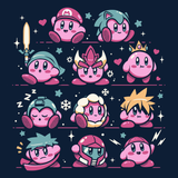 PixelRetro is your best destination for Video Game T-Shirts for Men and Women. Unisex Tee with a great fit. Kirby Mash Up with Super Mario, Mega Man, Cloud Strife from Final Fantasy on a Navy Blue T-Shirt. Retro, Samus Aran, Metroid, Nintendo design with Smash Bros. Includes, Link, Zelda and Ryu. Created with a unique look. Online shop only. Soft, durable and high quality cotton. Art By Ilustrata.