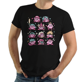 PixelRetro is your best destination for Video Game T-Shirts for Men and Women. Unisex Tee with a great fit. Kirby Mash Up with Super Mario, Mega Man, Cloud Strife from Final Fantasy on a Black T-Shirt. Retro, Samus Aran, Metroid, Nintendo design with Smash Bros. Includes, Link, Zelda and Ryu. Created with a unique look. Online shop only. Soft, durable and high quality cotton. Art By Ilustrata.
