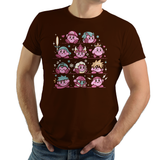 PixelRetro is your best destination for Video Game T-Shirts for Men and Women. Unisex Tee with a great fit. Kirby Mash Up with Super Mario, Mega Man, Cloud Strife from Final Fantasy on a Brown T-Shirt. Retro, Samus Aran, Metroid, Nintendo design with Smash Bros. Includes, Link, Zelda and Ryu. Created with a unique look. Online shop only. Soft, durable and high quality cotton. Art By Ilustrata.