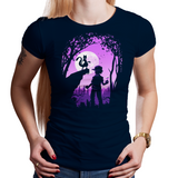 Shop like a gamer. PixelRetro is your best destination for Video Game T-Shirts for Women. Mewtwo from Pokemon on a Black or Navy Blue Fit, Fitted T-Shirt. Cute design with a unique look that has Mewtwo and Trainer in front of a lovely moon.