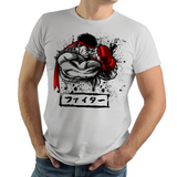 Shop like a gamer. PixelRetro is your best destination for Video Game T-Shirts for Men and Women. Unisex Tee with a great fit. Ryu from Street Fighter on a Silver T-Shirt. Ink Design with a unique look, that covers SF2, Fighting。