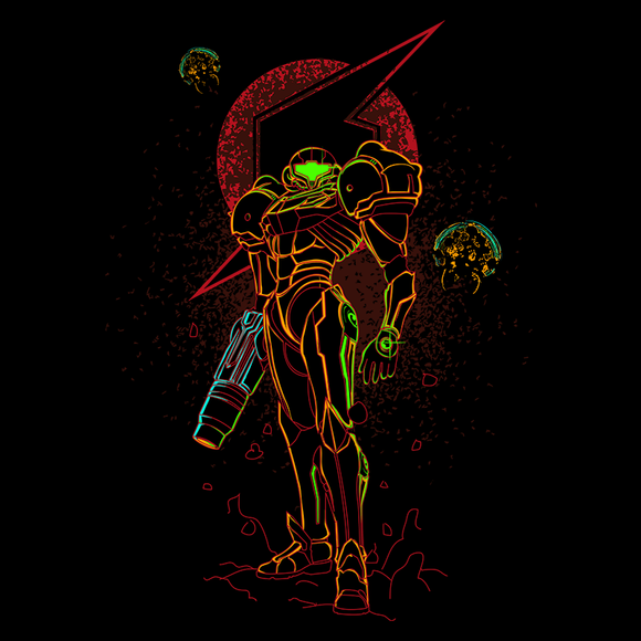 Shadow of Bounty Hunter - Retro and Pixel Video Game T-shirts - Metroid, Samus Aran, Sci-Fi, Science Fiction, SNES, Nintendo, NES, Bounty Hunter, Space, Mother Brain, Kraid, Prime, 4, Zero Suit, Space Pirate, Switch, Alien, Ridley, Smash Bros, Donnie, Women, Men, T-Shirt, Tee, Slim Fit, Tank Top, Long Sleeve