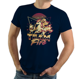 PixelRetro is your best destination for Video Game T-Shirts for Men and Women. Unisex Tee with a great fit. Team Fire with Charmander, Ponyta, Flareon from Pokemon on a Navy Blue T-Shirt. Retro, 80s, Nintendo design with a Fire, fun look from Japan, Game Boy. Created with a unique, cute, adorable look. Online shop only. Soft, durable and high quality cotton. Art By Ilustrata.