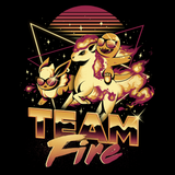 PixelRetro is your best destination for Video Game T-Shirts for Men and Women. Unisex Tee with a great fit. Team Fire with Charmander, Ponyta, Flareon from Pokemon on a Black T-Shirt. Retro, 80s, Nintendo design with a Fire, fun look from Japan, Game Boy. Created with a unique, cute, adorable look. Online shop only. Soft, durable and high quality cotton. Art By Ilustrata.