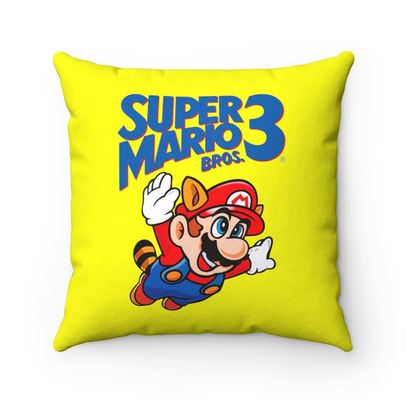 Take to the sky. 100% Polyester cover Double sided print Concealed zipper Polyester pillow included. Shop, Bed, Sofa, Couch, Room, Decor, Home, Art, Gamer, Nes, Nintendo, 80s, Pixel, 8-Bit, 1980s, Nerd, Super Mario, SMB, Luigi, Bowser, Princess Peach, 1UP, 1985, King Koopa, Japanese, Original, Racoon, SMB3, Mario 3