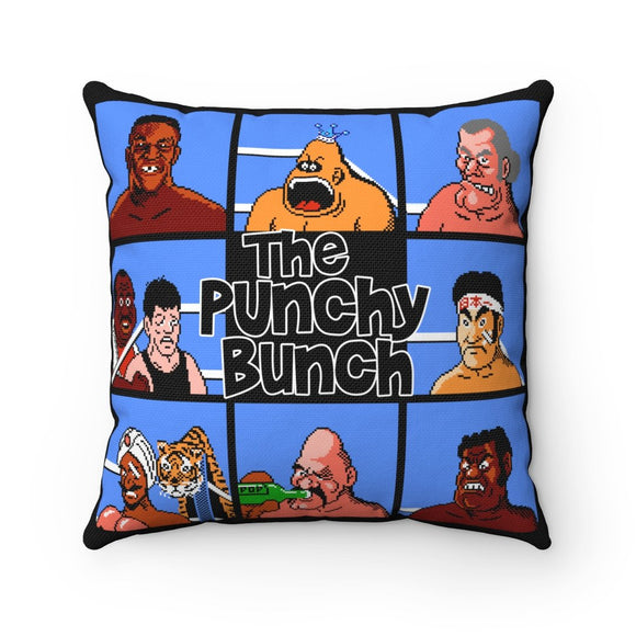Punchy Bunch. 100% Polyester cover Double sided print Concealed zipper Polyester pillow included. Shop, Bed, Sofa, Couch, Room, Home, Art, Punch Out, PunchOut, Punch-Out, Boxing, Mike Tyson, Little Mac, Mario, NES, Nintendo, Pixe