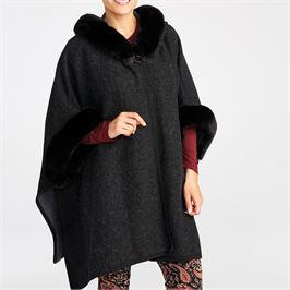 hooded faux fur charcoal