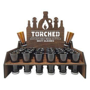 Torched Products - 24 Piece Beer Bottle Shot Glass & Point of Sale Display