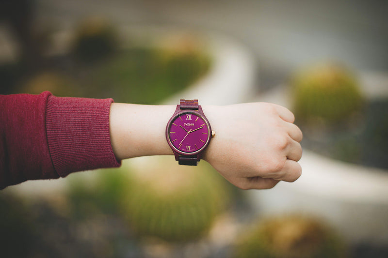 violet wooden watch