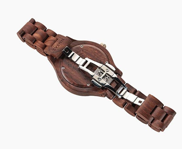 Svenn Wood Watch Atlas Dark Brown Back