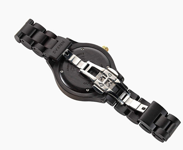 Svenn Wood Watch Atlas Jet Black Back