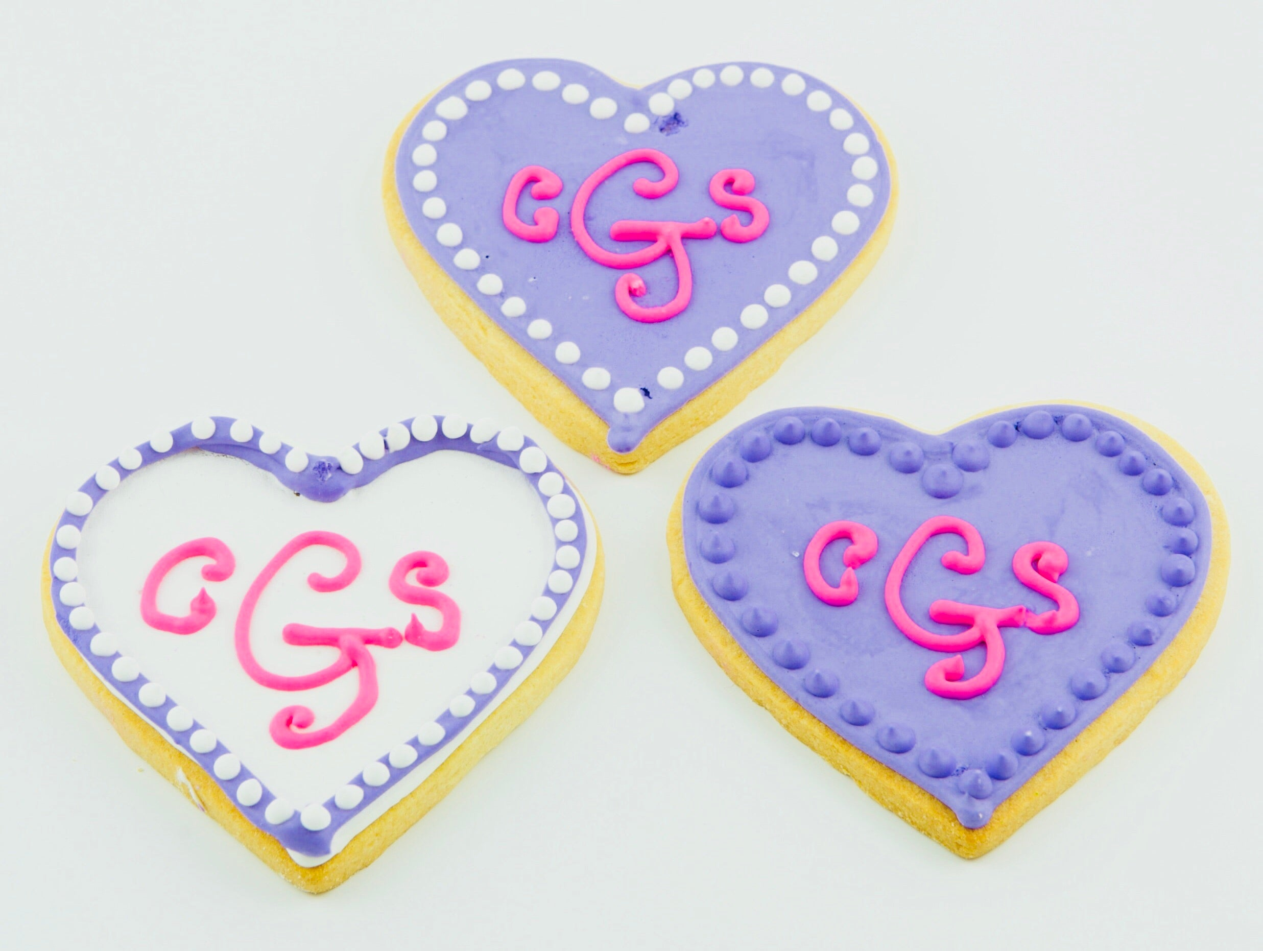 COOKIE FAVORS WEDDING/MONOGRAM HEARTS